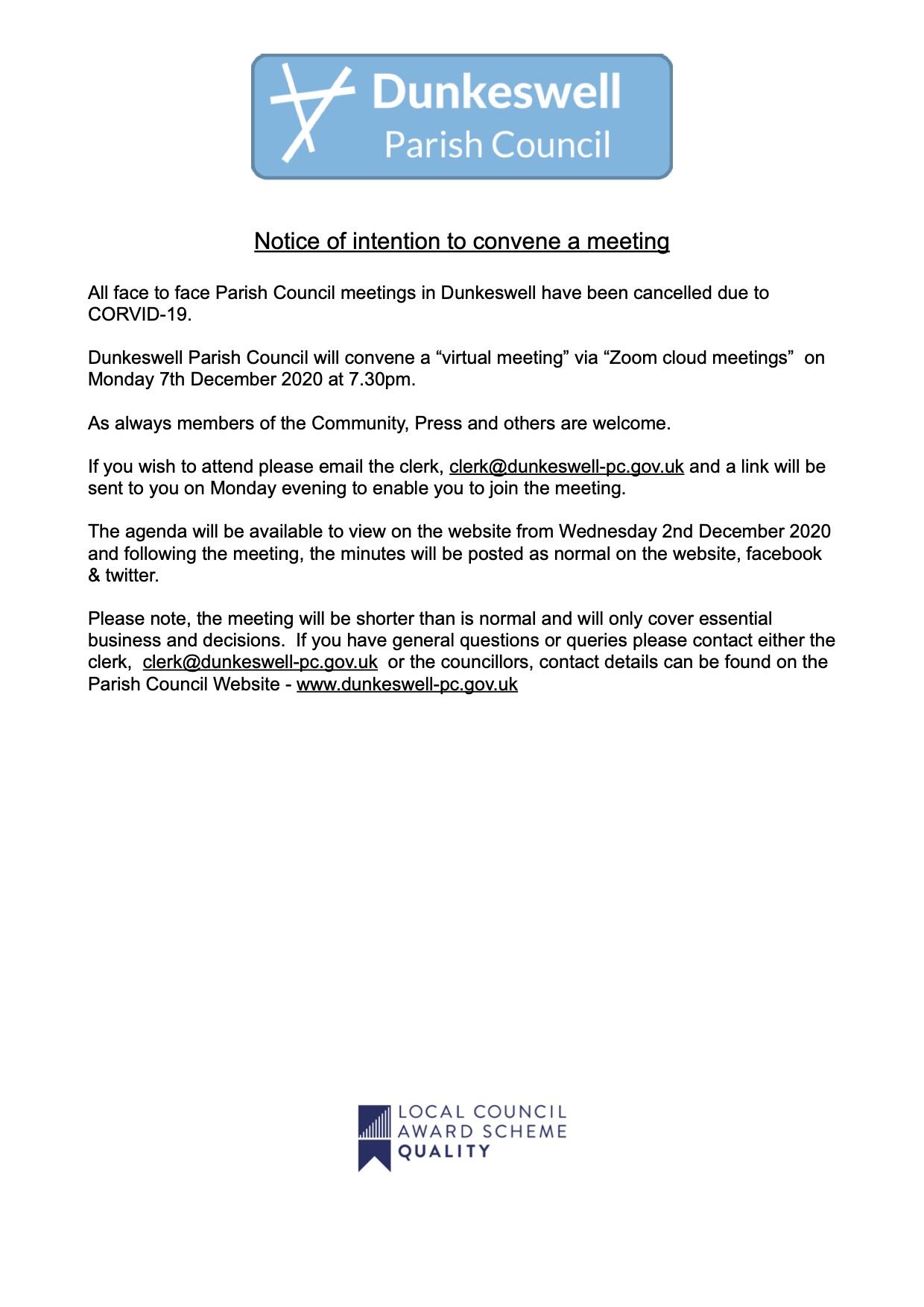 Meeting Notice Eddc December 2020